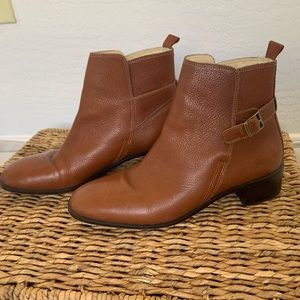 Brown faux leather booties w/ gold buckles